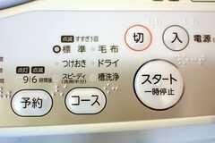 洗濯機の操作パネル。スピーディーコースは洗剤半分です。(2014-12-24,共用部,LAUNDRY,3F)