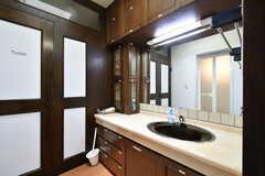 脱衣室に設置された洗面台の様子。左奥がトイレ、対面にバスルームがあります。(2017-07-11,共用部,WASHSTAND,3F)