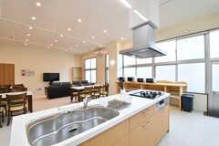 キッチンの様子2。シンクとガスコンロは2箇所ずつ設置されています。(2017-03-23,共用部,KITCHEN,)