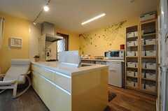 キッチン台の引き出しは、キッチン側からもリビング側からも引き出せるタイプ。(2013-04-19,共用部,KITCHEN,1F)