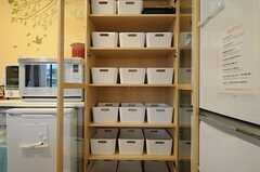 各部屋ごとに使用できる食料ボックスの様子。(2013-04-19,共用部,KITCHEN,1F)
