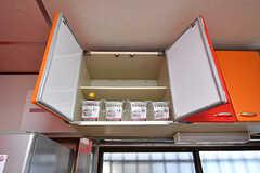 吊り棚にも専有部ごとの収納スペースがあります。(2016-10-24,共用部,KITCHEN,1F)