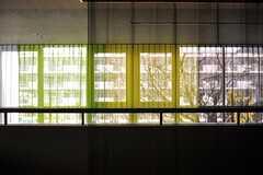 透明感のあるカーテンはカラフル。(2014-02-18,共用部,LIVINGROOM,2F)