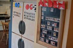 入居者さんの紹介ボード。OB・OGの写真も。(2021-05-06,共用部,LIVINGROOM,1F)