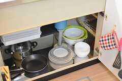 シンクの下は共用の食器や鍋が収納されています。(2016-11-28,共用部,KITCHEN,1F)