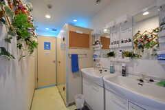 手前に洗面台、奥にトイレがあります。(2020-11-24,共用部,WASHSTAND,1F)