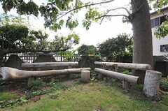 手作りのベンチ。(2013-10-10,共用部,OTHER,1F)