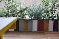 テラス脇にはカラフルな植栽スペース。(2013-07-09,共用部,LIVINGROOM,1F)