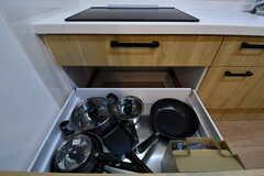 IHクッキングヒーターの下に共有の鍋やフライパンが収納されています。(2019-04-03,共用部,KITCHEN,1F)