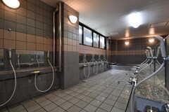 大浴場の洗い場の様子。(2017-04-05,共用部,BATH,1F)