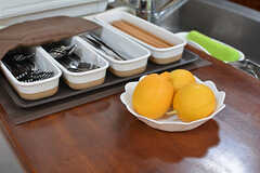 レモンは建物の裏手で採れたもの。カトラリー類は取り出しやすいよう常にカウンターに設置されています。(2017-02-06,共用部,KITCHEN,1F)