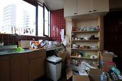 食器棚とゴミ箱の様子。(2011-03-26,共用部,KITCHEN,3F)