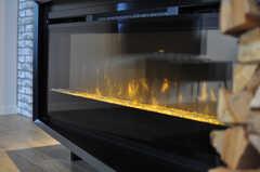電気ストーブの様子。暖炉のような佇まいです。(2013-10-21,共用部,LIVINGROOM,1F)