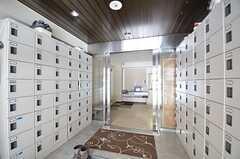 玄関から見た内部の様子。靴箱はひとり1扉ずつ使えます。(2015-01-20,周辺環境,ENTRANCE,1F)