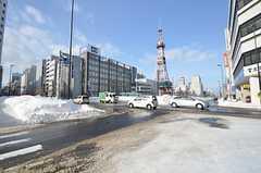 シェアハウス近くの交差点。テレビ塔もすぐ近く。(2015-01-21,共用部,ENVIRONMENT,1F)