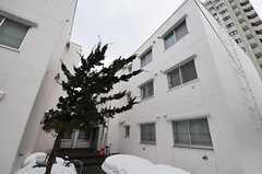 正面玄関付近から見たマンション外観。2室がシェアハウスです。通路脇には冬期以外は自転車を置くことが出来ます。(2011-03-12,共用部,OUTLOOK,1F)