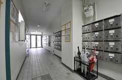 内部から見た玄関周りの様子。郵便受けの向かいに、管理人室があります。(2011-05-28,周辺環境,ENTRANCE,1F)