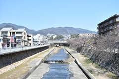 近くを流れる芦屋川。春は桜がきれいに咲くのだそう。(2017-04-04,共用部,ENVIRONMENT,1F)