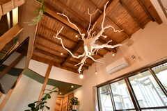 天井には以前敷地に埋められていた梅の木の根っこを活かした照明が設置されています。リビングのシンボルとして、目を惹く存在です。(2019-06-11,共用部,LIVINGROOM,1F)