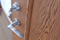ドアハンドルの様子。ドアはキレイな板目。(2013-03-23,専有部,ROOM,2F)