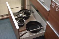 鍋類は引き出しに収納されています。(2019-02-20,共用部,KITCHEN,3F)