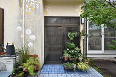 シェアハウスの玄関ドア。鉢植えがたくさんあります。(2016-06-21,周辺環境,ENTRANCE,1F)