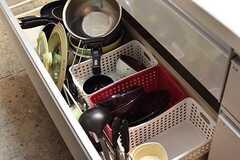 シンクの下は共用の鍋やフライパンが収納されています。(2017-05-25,共用部,KITCHEN,1F)