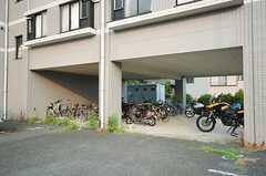 駐輪場の様子。屋根付です。(2013-08-22,共用部,GARAGE,1F)
