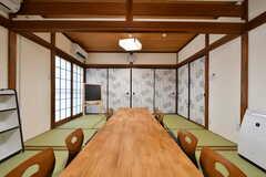 ダイニングテーブルは入居者が全員集まっても余裕のある大きさです。(A棟)(2019-03-01,共用部,LIVINGROOM,2F)