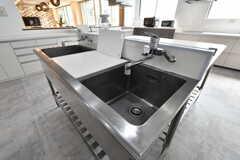 キッチンの中央には深さのあるシンクが設置されています。大きな鍋もすっぽり収まるサイズ。(2019-06-26,共用部,KITCHEN,1F)