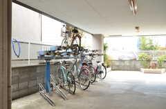 自転車置場の様子。(2016-02-25,共用部,GARAGE,1F)