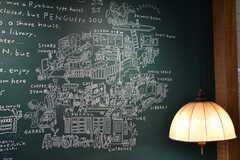 近隣MAPと建物内の設備などがチョークアートで描かれています。(2020-01-31,共用部,OTHER,1F)