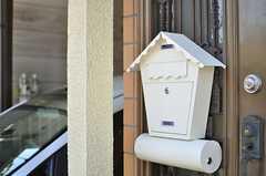 ポストの様子。下の丸い筒は新聞紙入れなのだとか。(2013-09-13,周辺環境,ENTRANCE,1F)
