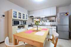 ダイニングテーブルの様子。奥がキッチンです。(2016-07-08,共用部,LIVINGROOM,1F)