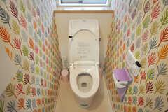 トイレの様子。壁紙がかわいい。(2010-02-23,共用部,TOILET,1F)