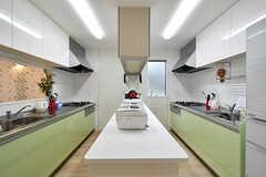 キッチンの様子2。中央の作業台にキッチン家電が並んでいます。(2017-03-16,共用部,KITCHEN,2F)