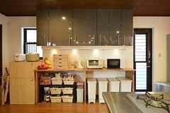 キッチン家電、収納、ゴミ箱の様子。収納は部屋ごとに使えるスペースが決まっています。(2015-03-26,共用部,KITCHEN,1F)