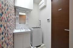 水まわり設備の様子。洗面台と洗濯機が設置されています。右手のドアはシャワールームです。(2017-08-09,共用部,OTHER,2F)