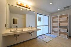 大浴場の脱衣室。週ごとに男女が入れ替わります。(2017-04-06,共用部,BATH,1F)