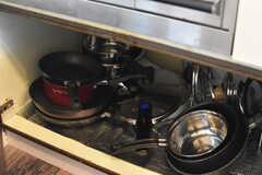 ガスコンロの下は共用の鍋やフライパンが収納されています。(2017-08-31,共用部,KITCHEN,1F)