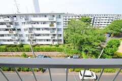 窓から見た景色。右手の大きな木はなんと桜。春には専有部でお花見もできそう。(5013号室)(2012-06-07,専有部,ROOM,5F)