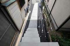 玄関の階段からアプローチも洗い出し仕上げ。右手のポストと物干しの間に自転車を置けます。(2011-05-31,周辺環境,ENTRANCE,1F)