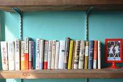 棚にはコリン・ウィルソンなどオカルトや精神世界系の本が飾られています。(2016-05-19,共用部,OTHER,2F)