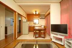 シェアハウスのラウンジの様子2。(2008-12-12,共用部,LIVINGROOM,1F)