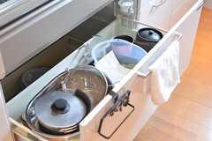 シンクの下は共用の鍋やボウルが収納されています。(2016-09-05,共用部,KITCHEN,2F)