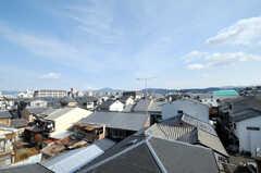 屋上の様子。京都の五山送り火時には、左右の大文字が見えるそう。(2010-12-26,専有部,ROOM,4F)