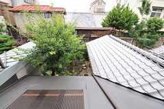 窓から見下ろすと庭の緑が見えます。(201号室)(2013-06-23,専有部,ROOM,2F)