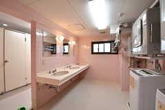 ランドリールームの様子。洗面台の裏手がトイレです。(2017-01-17,共用部,LAUNDRY,3F)