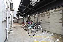 自転車置き場の様子。奥はバイクも駐車可能です。(2017-01-17,共用部,GARAGE,1F)