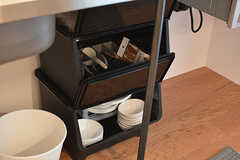 食器は作業台下のボックスに収納されています。(2017-01-17,共用部,KITCHEN,1F)